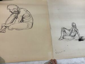 2pc Vintage Mysterious Nude Male Figure Sketch Charcoal Drawing