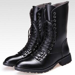 2020 Winter Mens Military Combat Boot Thick Pointed Toe Shoes Faux Leather Boots