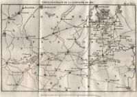 General map of the 1815 Campaign. Belgium/Nord. Waterloo 1821 old antique