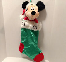 "Disney Store Mickey Mouse Christmas Stocking 23"" Red Green Santa Hat Holiday"