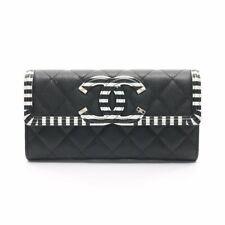 CHANEL CC filigree CC Logo Folded Long wallet caviar skin Silver Metallic parts