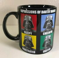"Star Wars Expressions Of Darth Vader Mug 20 Oz Ceramic Cup Black 4 ¼"" Tall"