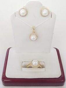 14K 14KT YELLOW GOLD CULTURED PEARL MATCHED SET PENDANT, EARRINGS AND RING 3.6gm