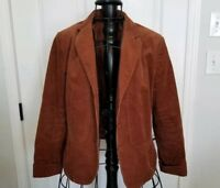 Talbots womens blazer corduroy rust vachetta brown color fitted jacket 8 career