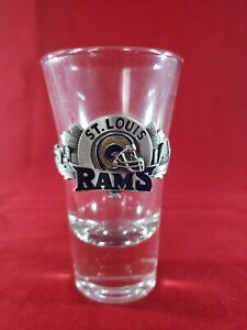 Shot Glass 2.5 oz NFL St. Louis Rams Football With City Back Drop Emblem