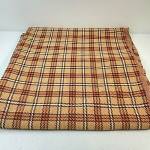 vtg fabric brown tan plaid crafts sewing knit woven 60x65 1.8 yards