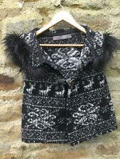 ZARA - KNITTED FAIR ISLE GILET - 48% WOOL WITH HOOD AND FUR TRIM  - SIZE 12 / 14