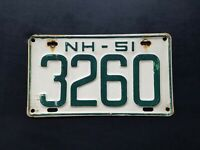 1951 New Hampshire Shorty Auto License Plate Tag Antique Vintage Original Paint