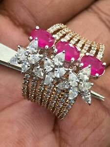 Pave 3.42 Cts Round Pear Shape Diamonds Ruby Cocktail Ring In 585 Stamp 14K Gold