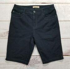 NINE WEST Vintage America Black Bermuda Stretch Jean Shorts Size 10