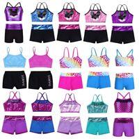 Girl Kid 2-Piece Dance Sport Outfit Crop Top+Booty Shorts Gymnastics Leotard Set