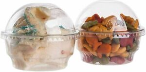100 X 6oz Clear Plastic Cups for Ice Cream, Dessert Cups,Snack Bowl Tub with Dom