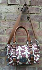 FOSSIL Maddox crossbody satchel shoulder strap canvas & tan leather key charm