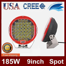 1PCS 185W Round 9inch Cree Led Driving Work Light Spot Offroad Truck 4WD SUV 96W