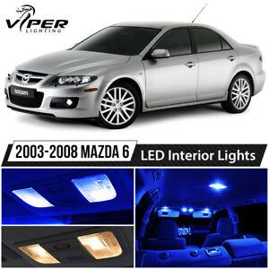 2003-2008 Mazda 6 Blue LED Interior Lights Package Kit + License Lights