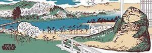 Star Wars Tenugui Jabba the Hutt Woodblock Print Style Ukiyo-e From Japan