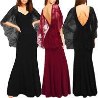 Abito lungo donna vestito pizzo trasparente elegante cerimonia party DL-2187