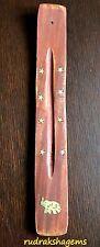 Wooden Brass Incense Stick Holder Ash Catcher Joss Burner Home Spirituality Star
