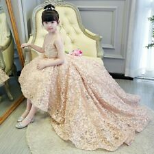New Champagne Puffy FloralWeddings Long Trailing Communion Pageant dress
