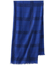 $118 Marc by Marc Jacobs Logo Plaid Fringe Square Cotton Scarf Bohemian Blue