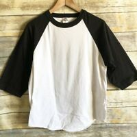 Alstyle Men's Medium White Black Henley 3/4 Sleeve Cotton Shirt