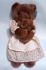 "Vtg Teddy Bear Mother & Baby Princess Soft Toy Stuffed Plush Floral Dress 12"""