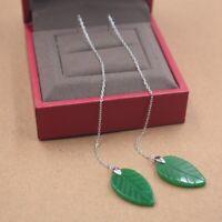 Solid 925 Sterling Silver Dangle Earrings Natural Jade Leaf Earrings 120mmH