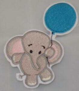 """Machine Embroidered Baby Elephant with Blue Balloon Applique Size 2.27"""" x 3.87"""""""
