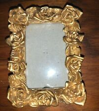 Miniature Victorian Rose Picture Frame Gold-tone Color with Back Stand