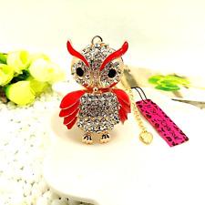Betsey Johnson Red Enamel & Diamond White Crystal Chubby Owl Pendant Necklace