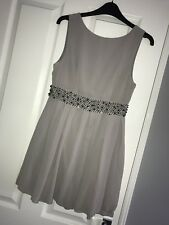 TFNC Grey Skater Dress With Added Silver Embellishment