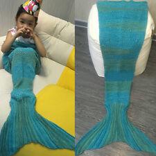 Kids Mermaid Tail Blanket Handmade Crocheted Cocoon Sofa Beach Quilt Rug Knit