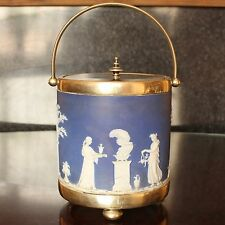 Beautiful WEDGWOOD Jasperware Biscuit Barrel, Silver Plated Fittings, pre 1891
