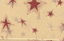 Primitive Tissue Gift Wrap Paper Country RED STAR design 10 Sheets Kraft
