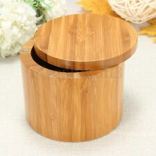 Bamboo Wood Round Salt Box Kitchen Storage Case Container Holder Barkeepers