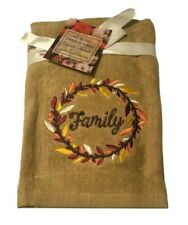 Thanksgiving Family Fall Hand Towels Embroidered Bathroom Set of 2 Beige Harvest