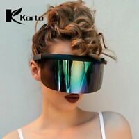 Oversized Shield Visor Sunglasses Very Big Lens Glasses Flat Eyeglasses Mirrored