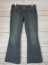 Women's Silver Kyoko Button Fly Flare Denim Jeans Size 31 EUC