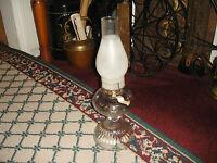 Vintage Kerosene Oil Lamp Ribbed Glass Clear Glass Color Bulbous Top