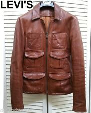 LEVIS Capital E leather jacket brown scorched up lvc S slim fit moto cafe racer