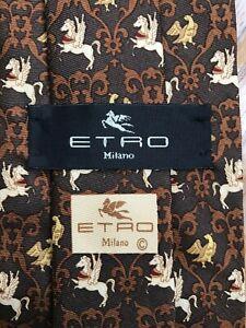Etro tie (flawless) - 100% silk - made in italy - brown / pegasus