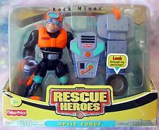 FISHER-PRICE RESCUE HEROES OPTIC FORCE ROCK MINER SET W/FIGURE - 2003- ONLY ONE!