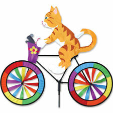 30 in. Kitty Cat on a Bicycle Wind Spinner Made w/ Sun Tex Outdoor Materials
