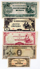 5 diff. Burma and Philippines WW2 1940's Japanese invasion paper money circ.-Unc