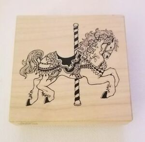 Carousel Horse Rubber Stamp PSX 1991 Made in USA New 3x3