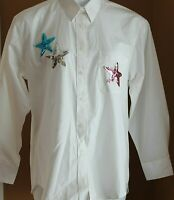 Las Olas White Button Up Shirt Pink Silver Blue Sequin Stars Long Sleeves NWT M