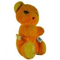 Vintage Knickerbocker Teddy Bear Plush Stuffed Animal Wind-Up Japan Orange