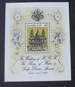 Barbuda 1981 Royal Wedding MS miniature sheet MNH UM unmounted mint Charles Di
