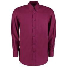 "16"" Collar 41"" Chest Burgundy Red Mens Long Sleeve Shirt Poly Cotton Shirt"
