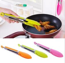 1x  Silicone Stainless Food Salad Tongs BBQ  Resistant Clamp Pliers Kitchen Tool